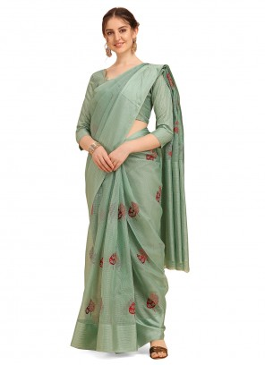 Cotton Embroidered Green Casual Saree