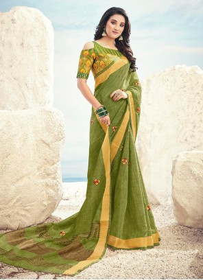Cotton Embroidered Green Contemporary Saree