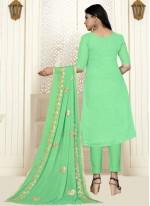 Cotton Embroidered Green Designer Salwar Kameez