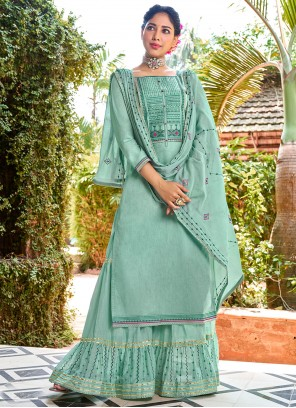 Cotton Embroidered Green Palazzo Salwar Suit
