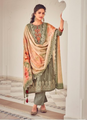 Cotton Embroidered Green Pant Style Suit