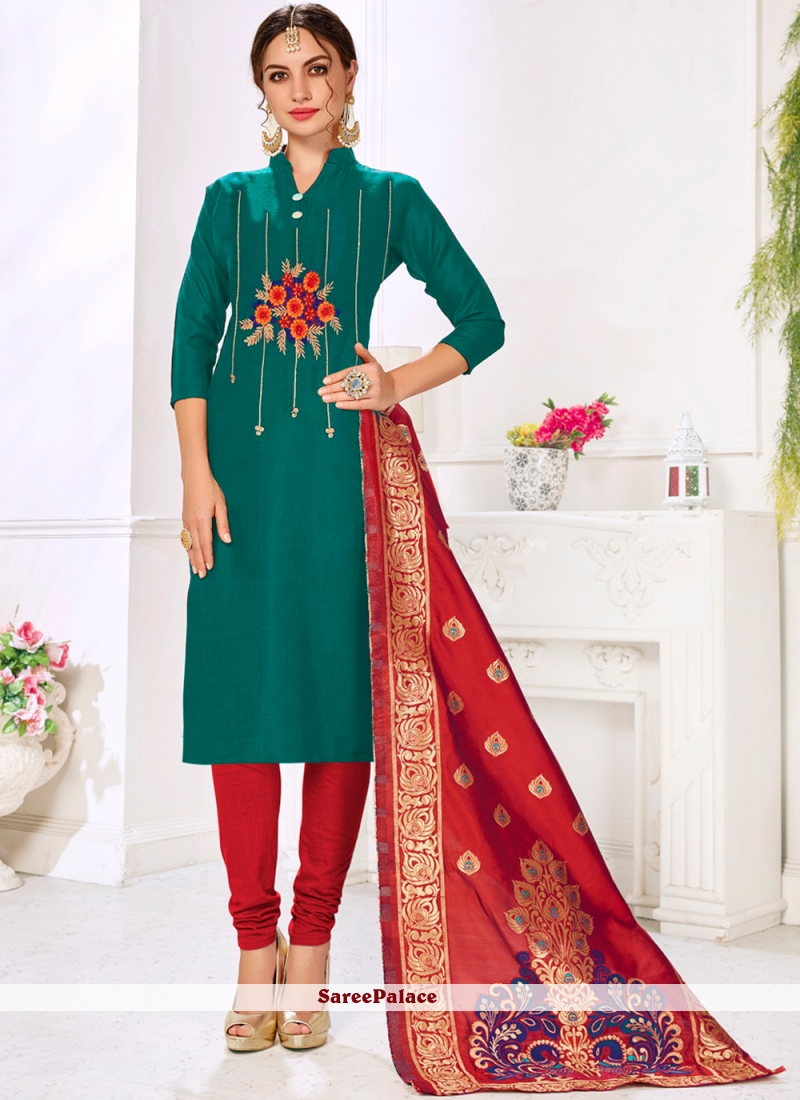 Cotton Embroidered Green Salwar Kameez