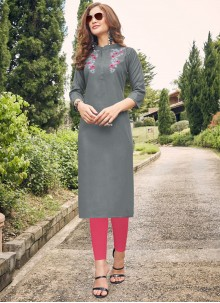 Cotton Embroidered Grey Party Wear Kurti