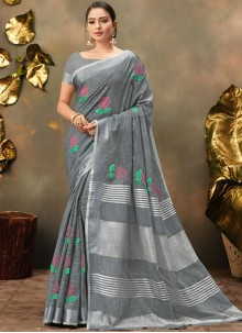 Cotton Embroidered Grey Trendy Saree