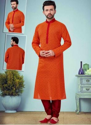 Cotton Embroidered Kurta Pyjama in Orange