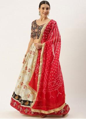 Cotton Embroidered Lehenga Choli in Cream