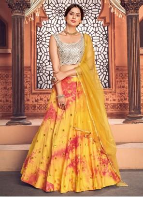 Cotton Embroidered Lehenga Choli in Yellow