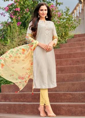 Cotton Embroidered Multi Colour Churidar Suit