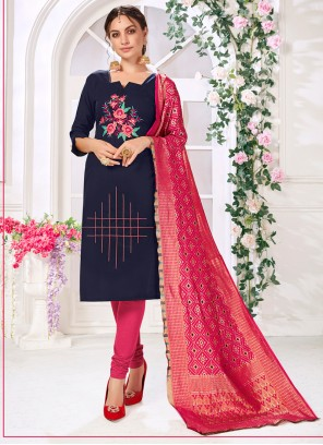 Cotton Embroidered Navy Blue Churidar Designer Suit