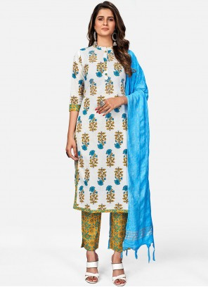 Cotton Embroidered Off White Readymade Suit