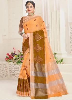 Cotton Embroidered Orange Classic Saree