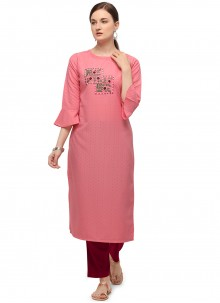 Pink Cotton Embroidered Party Wear Kurti