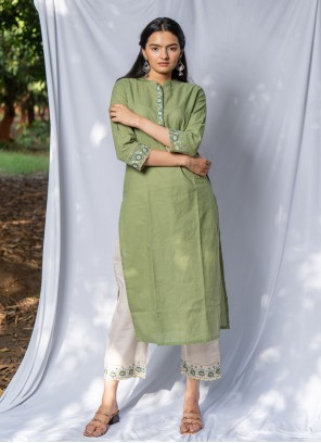 Green Cotton Embroidered Party Wear Kurti