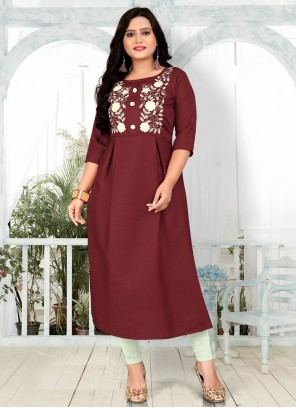 Cotton Embroidered Party Wear Kurti in Maroon