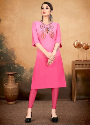 Cotton Embroidered Party Wear Kurti in Pink