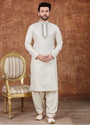 Cotton Embroidered Pathani Suits in Off White