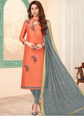 Cotton Embroidered Peach Churidar Designer Suit
