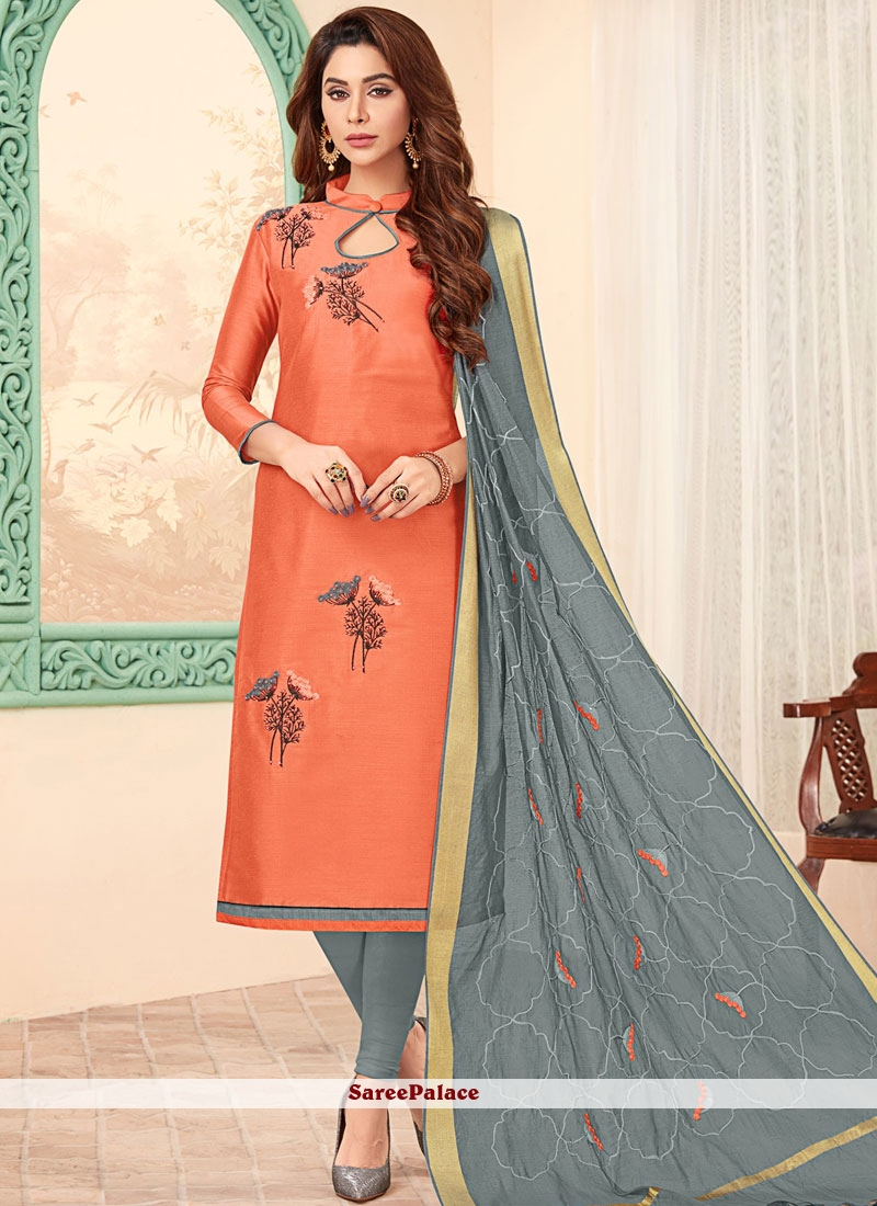 Cotton Embroidered Peach Churidar Designer Suit