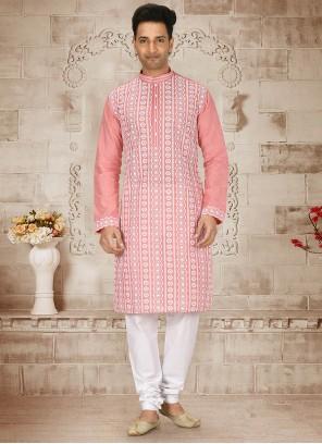 Cotton Embroidered Pink Kurta Pyjama