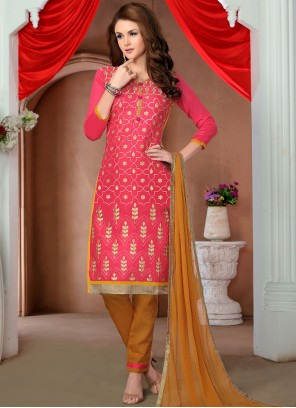 Cotton   Embroidered Pink Salwar Kameez