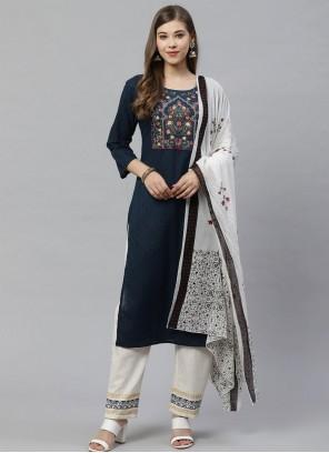 Cotton Embroidered Salwar Kameez in Navy Blue