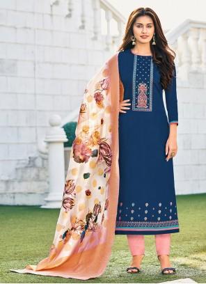 Cotton Embroidered Straight Salwar Kameez in Blue