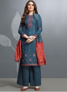 Cotton Embroidered Teal Palazzo Salwar Suit