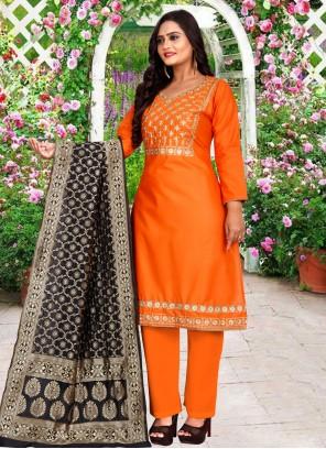 Cotton Embroidered Orange Trendy Salwar Suit