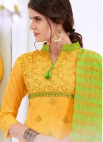 Cotton   Embroidered Yellow Churidar Suit
