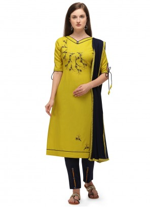 Cotton Embroidered Yellow Pant Style Suit