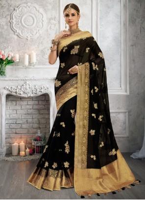 Cotton Fancy Black Designer Saree