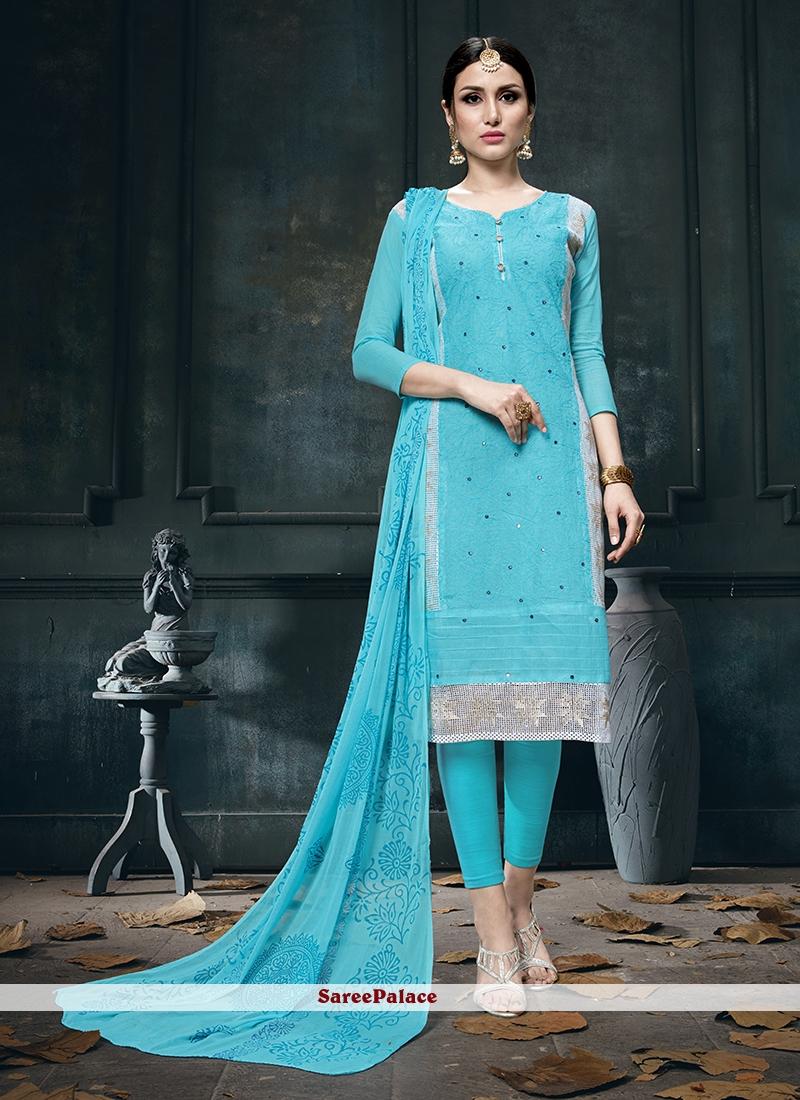 Cotton Fancy Blue Designer Straight Suit