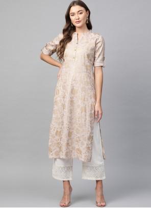 Cotton Fancy Off White Party Wear Kurti
