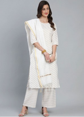 Cotton Fancy Off White Readymade Suit