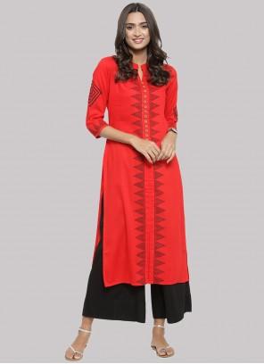 Cotton Fancy Party Wear Kurti in Red
