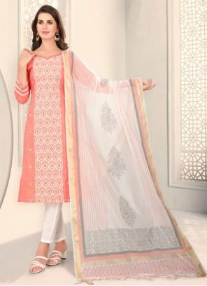 Cotton Fancy Peach Churidar Designer Suit