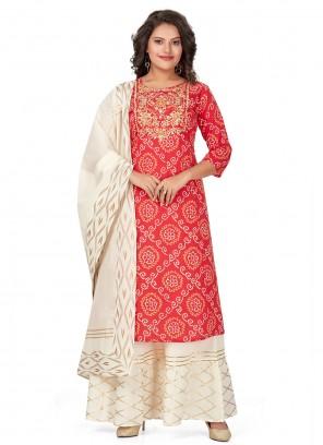 Cotton Fancy Pink Designer Palazzo Suit