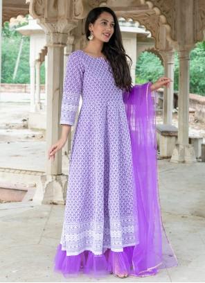 Cotton Fancy Purple Readymade Suit