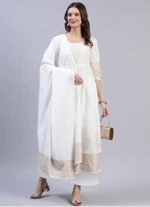 Cotton Fancy Readymade Suit in Off White