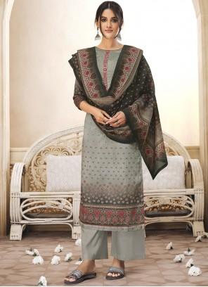 Grey Cotton Festival Designer Salwar Kameez