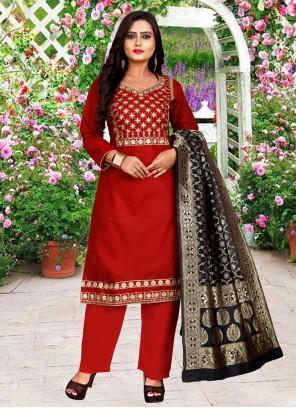 Cotton Festival Red Pant Style Suit
