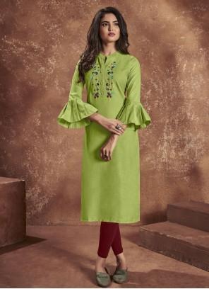 Green Cotton Festival Party Wear Kurti
