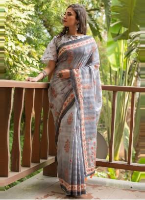 Grey Linen Cotton Festival Printed Saree