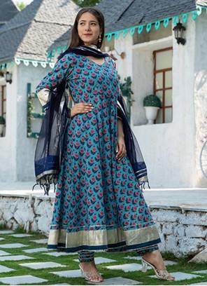 Blue Cotton Festival Readymade Suit
