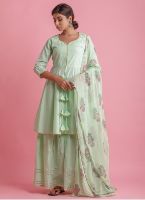 Cotton Festival Green Readymade Suit