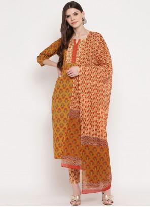 Multi Colour Cotton Festival Readymade Suit