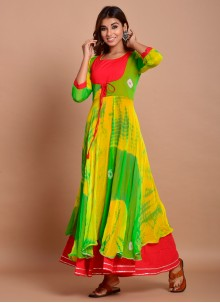 Green Cotton Festival Readymade Trendy Gown