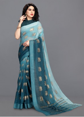 Cotton Festival Turquoise Shaded Saree