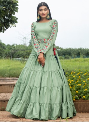 Cotton Green Floor Length Gown
