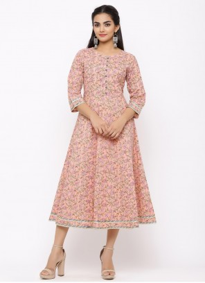 Cotton Floral Print Casual Kurti in Pink